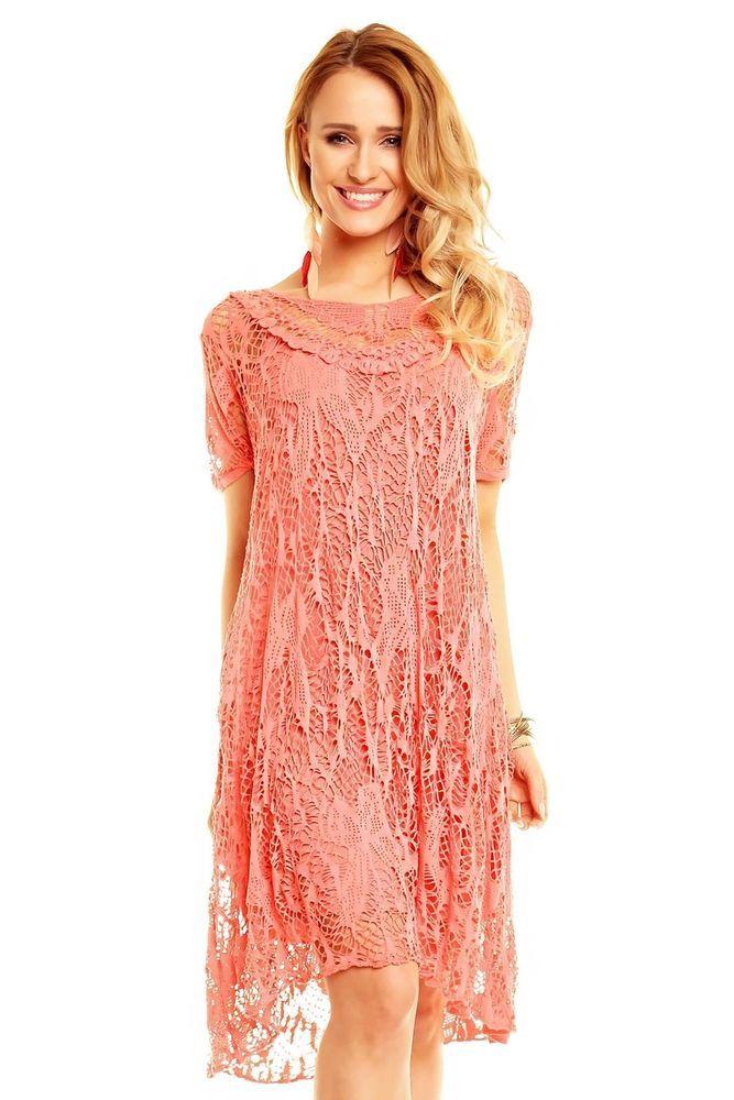 Kleid lang lachs
