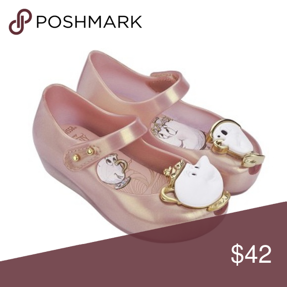 b6841e3f798a Mini Melissa Beauty and the Beast Mary Jane Shoes Mini Melissa Beauty and  the Beast Mary Jane Shoes. Metallic pink rose gold color with Chip on one  toes and ...