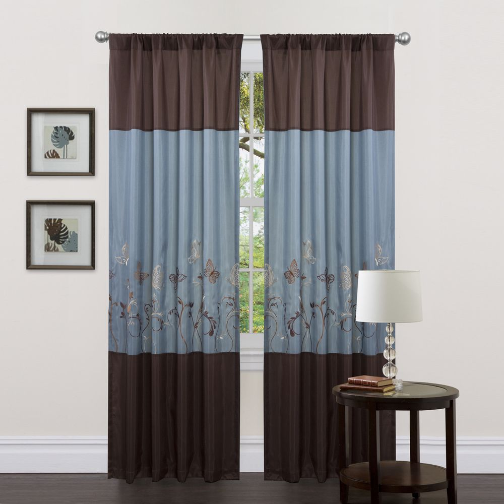 Lush Decor Blue/ Brown 84-inch Butterfly Dreams Curtain