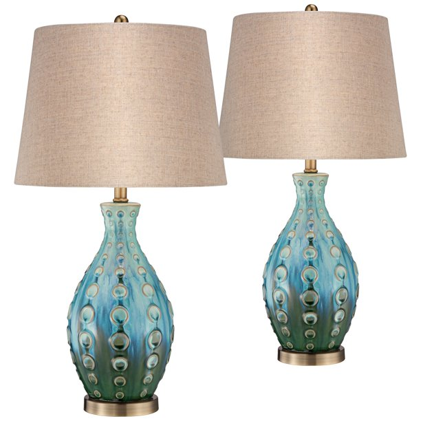 360 Lighting Mid Century Modern Table Lamps Set Of 2 Ceramic Teal Handmade Tan Linen Tapered Shade For Living Room Family Bedroom