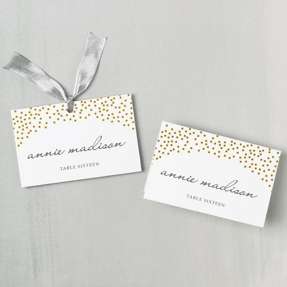 Printable Place Card Template INSTANT DOWNLOAD Gold Dots - place card template
