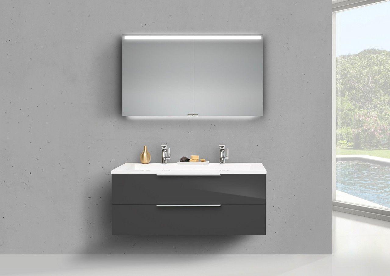 Badmobel Set Kuba 120 Cm Doppelwaschtisch Griffleiste Inkl Led Spiegelschrank Spiegelschrank Doppelwaschbecken Unterschrank