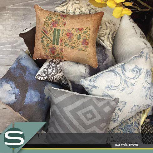 Cojines diseñados por nuestro cliente Amsala, impresión y textiles de Silvana Galería Textil.