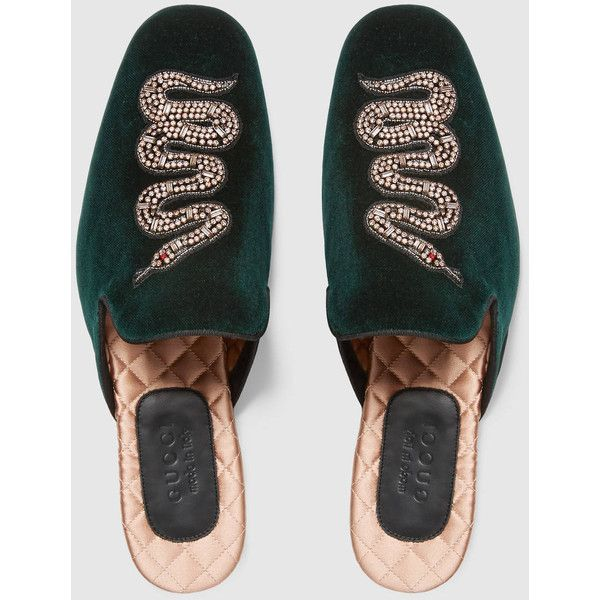 ea2845646f0f Gucci Velvet Evening Slipper With Snake ( 885) ❤ liked on Polyvore  featuring men s fashion