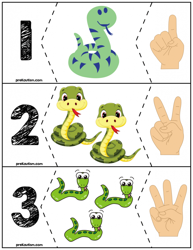 FREE Snake Quantity Puzzles #\'s 1-10 | Snake, Number worksheets and ...