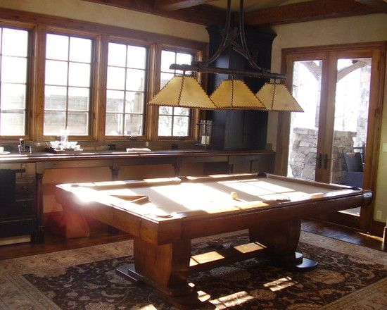 Fantastic Rustic Texture for Traditional Interior : Enchanting Family Room With Traditional Billiard McCall Lake Residence