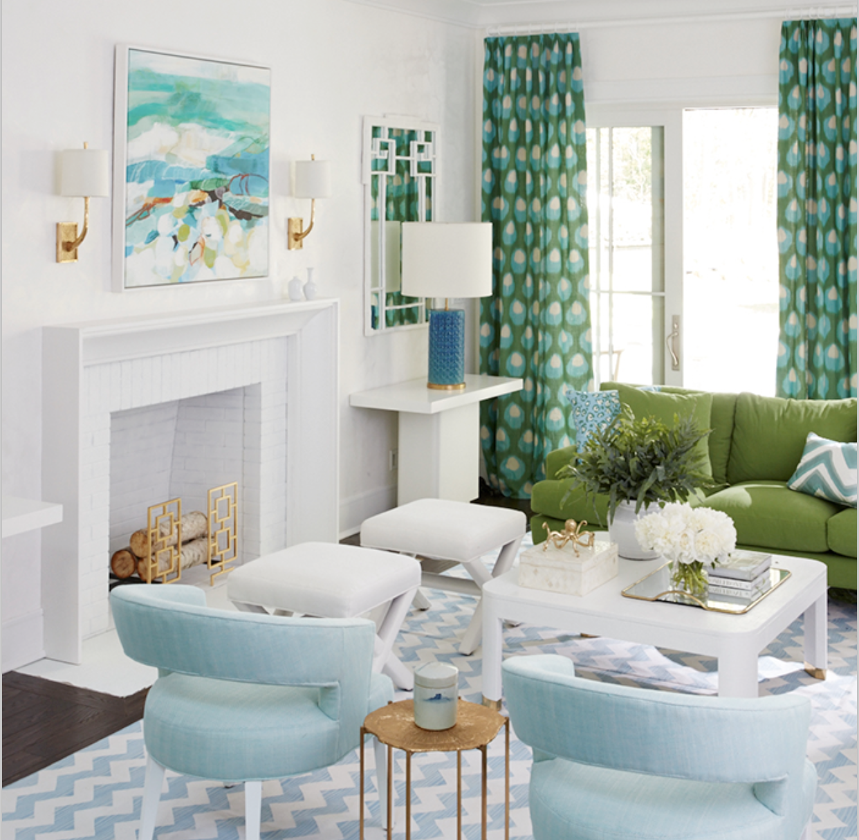 Analogous blue and green....Coastal Living 2016 Showhouse in ...