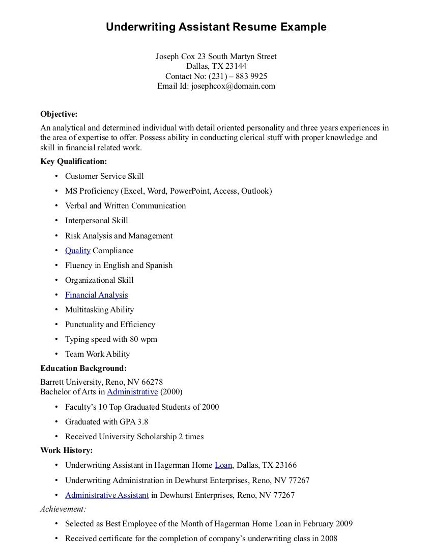 Underwriting Assistant Resume Resume Examples Resume Underwriting