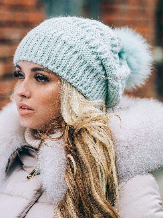 68bef12c832 Winter hats for women Wool hat Knitted hat pompon Knitted cowl Wool winter  hat Chunky Knit Hat Wool