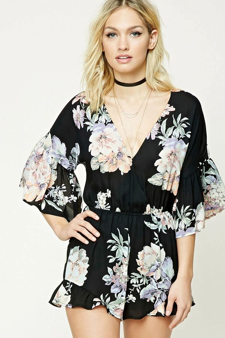 Forever contemporary a woven romper featuring an allover floral
