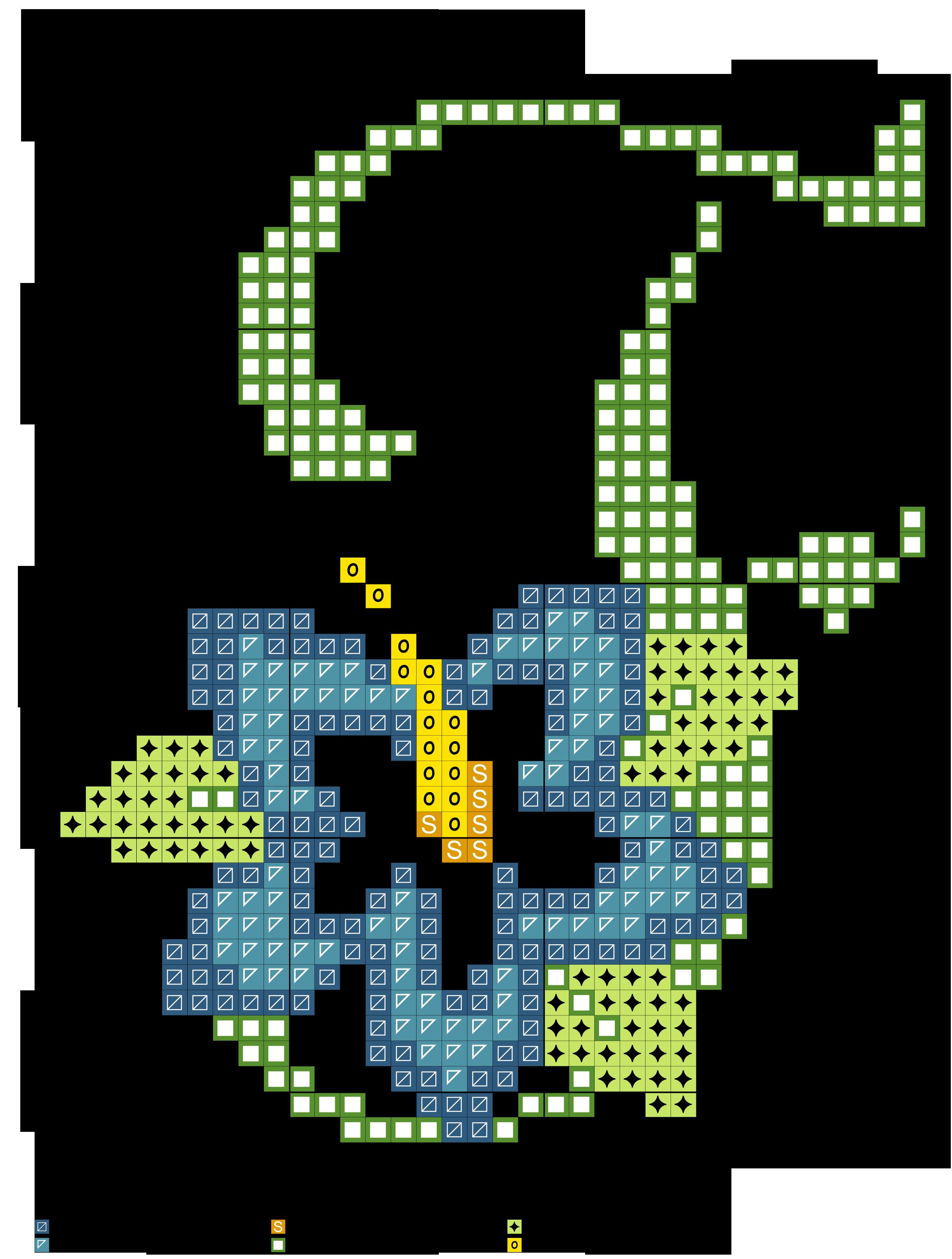 alfabeto verde con fiore stilizzato F