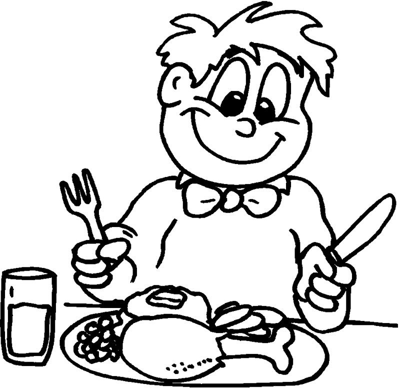 Kids Eating On Thanksgiving Day Coloring Pages For Kids Qg Printable Thanksgiving Coloring Pages For Kids