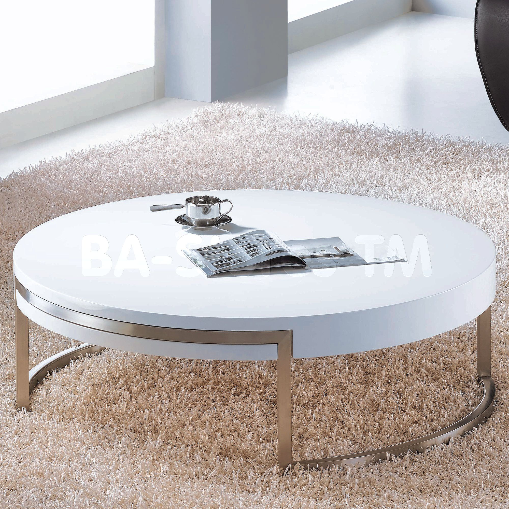 Modern White Round Coffee Table Living Room Table Set Check more