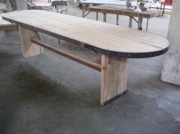 10u0027 L Oval Florida Cypress Wood Dining Table With Metal Banding Decor  Central Stretcher Connecting