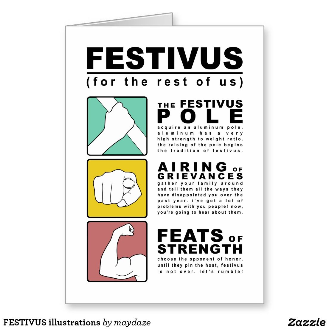 Festivus illustrations holiday card get this party started festivus illustrations greeting card by maydaze asyrum the festivus pole airing of grievances m4hsunfo