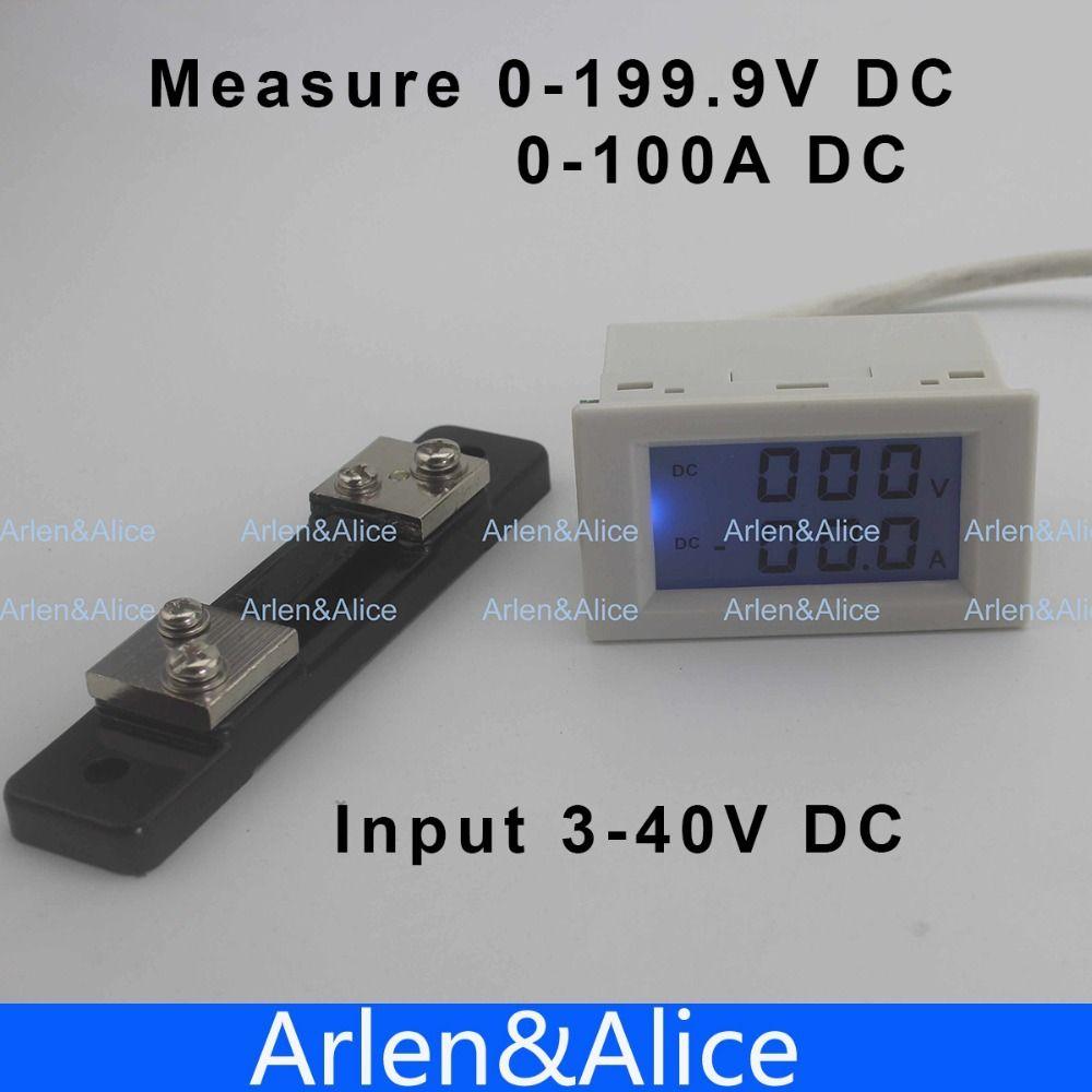 Lcd Display Dc Voltage And Current Meter Voltmeter Ammeter Range Digital Panel Amp Volt 100a 100v 0 1999v