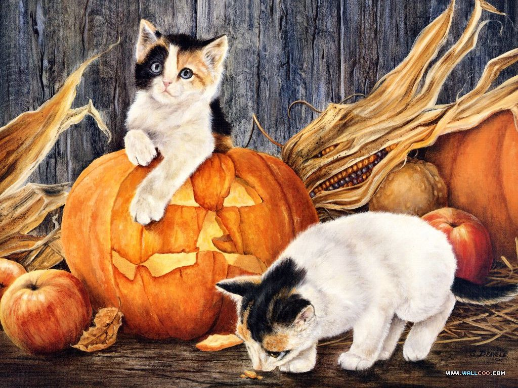 paintings of halloween cats