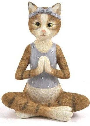 "cat in yoga position sitting crosslegged 7"" high 19"