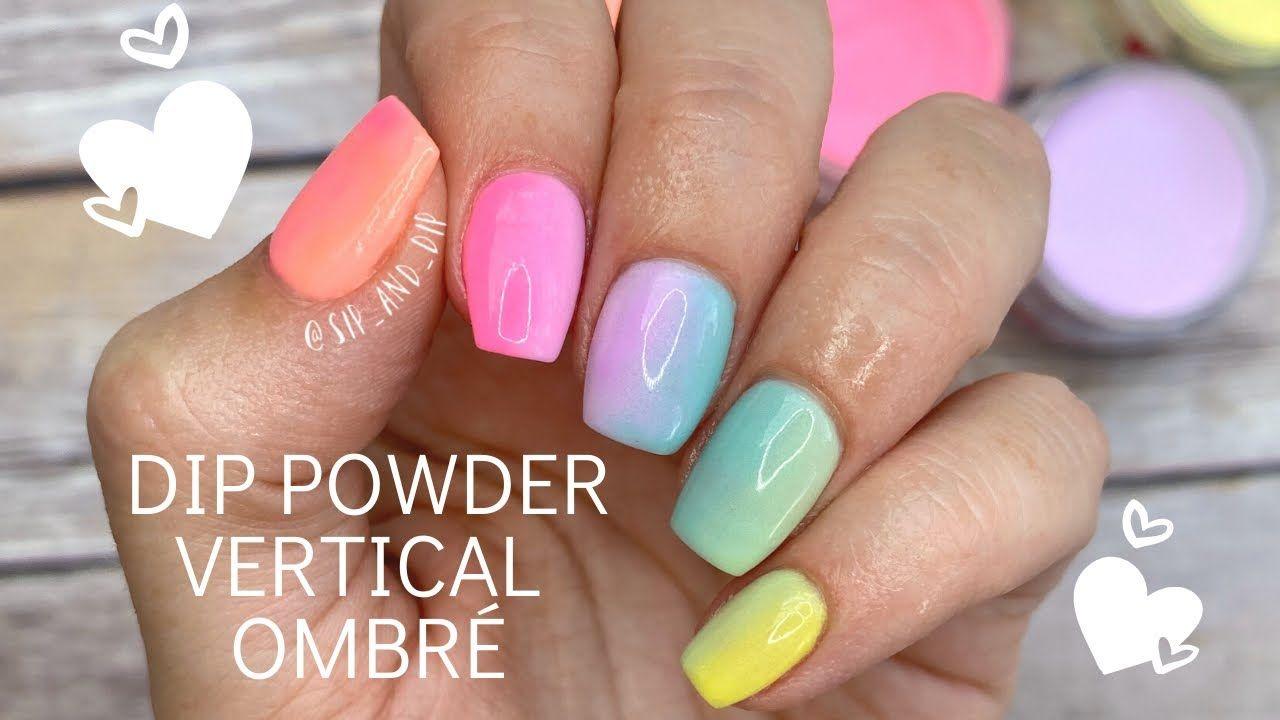 Diy Dip Powder Vertical Ombre Bright Spring Nails Youtube In 2020 Nail Dipping Powder Colors Acrylic Dip Nails Dip Nail Colors