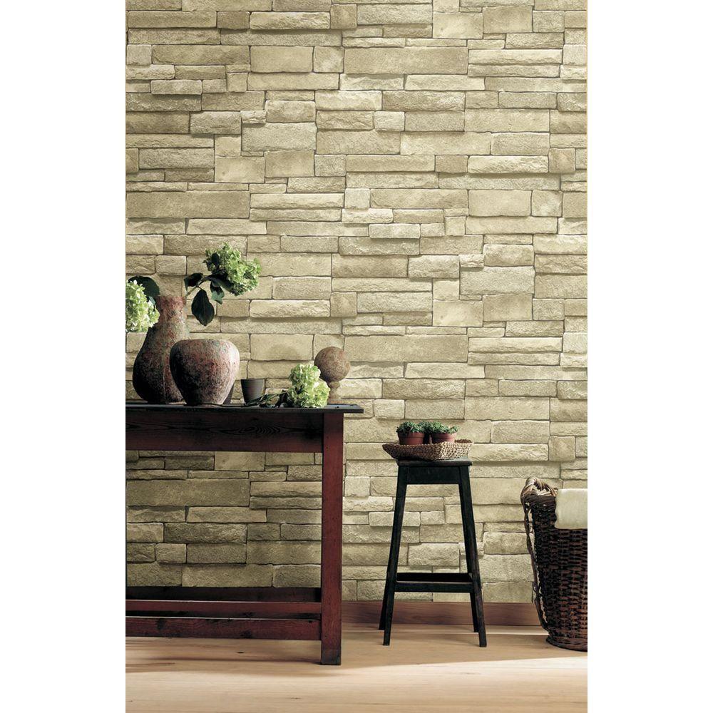 The Wallpaper Company 56 sq. ft. Neutral Stone Wallpaper
