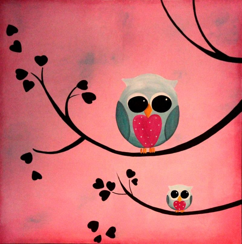 Google Image Result For Http Www Impactartstudio Com Au Paintings Owls O Large 001 Jpg Art Painting Night Painting Easy Canvas Painting