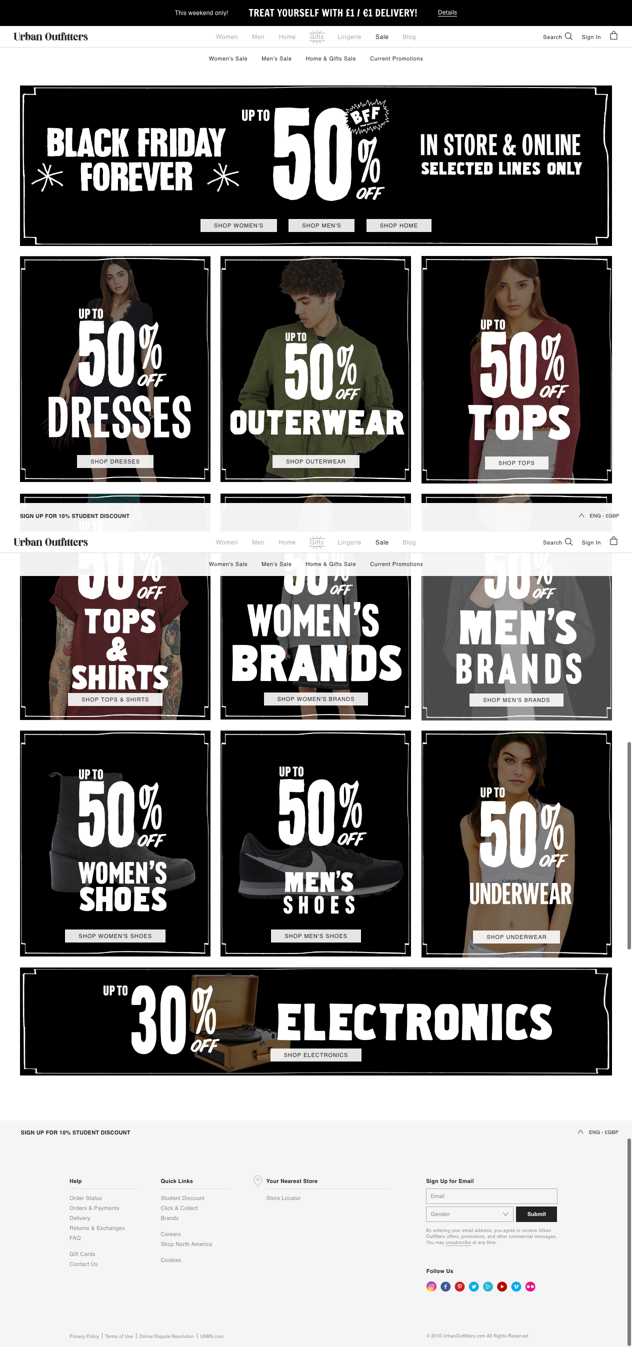 Black Friday Landing Page From Email On Urban Outfitters Thursday 24th Nov Black Friday Shopping Hacks Black Friday Offers