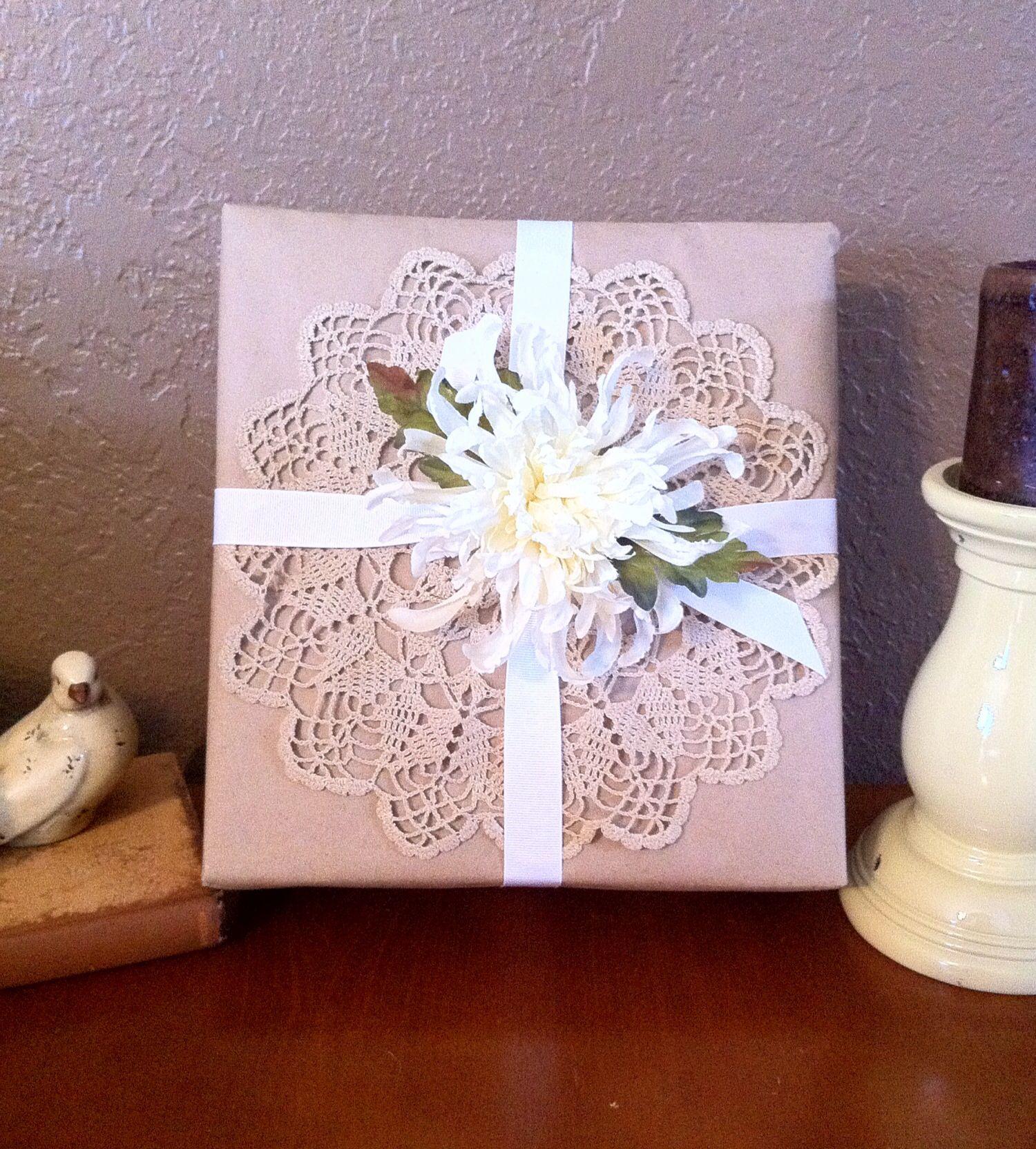 Bridal Gift Ideas: Bridal Shower Gift Wrap. Craft Paper, Vintage Doily, White