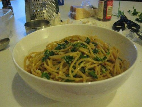 Simple pasta toss with olive oil, garlic, parsley, and Parmesan.