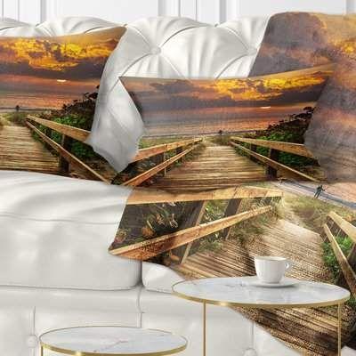 East Urban Home Bridge Long Wooden Stairs into the Sea Lumbar Pillow | Wayfair