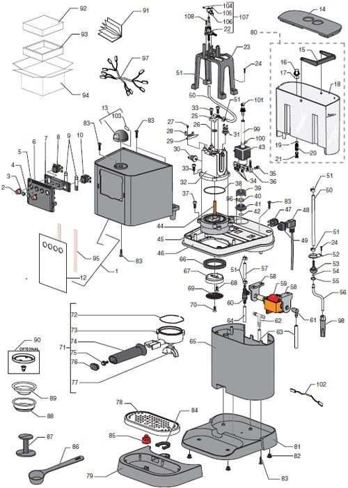 Gaggia Baby Black Parts Diagram Coffee Espresso