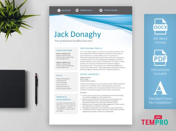 Business Resume \ Cover Letter Template Microsoft by TemplatePro - resume microsoft