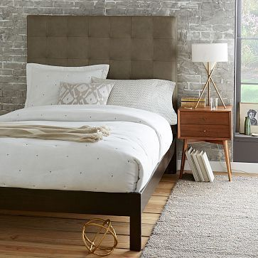 Grid Tufted Leather Bed Tall Elephant Gray Simple Bed Frame Mid Century Nightstand Modern Upholstered Beds