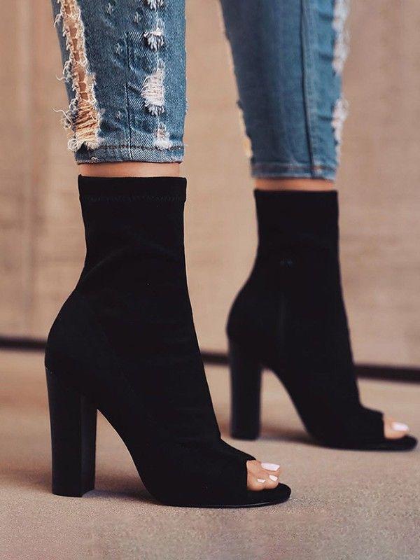 Peep Toe Chunky Heeled Short Boots