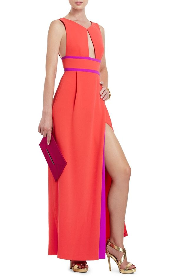 Long Keyhole Cocktail Dress With Color Block Slit-Poppy from BCBG at ...