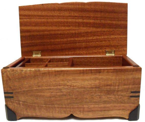 Koa Wood Jewelry Box by ArtByLiving on Etsy 19500 Treasures