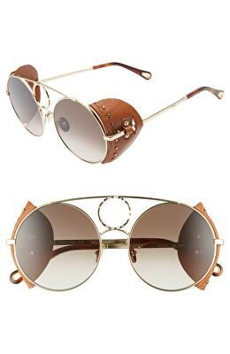 8595870676ab CHLOÉ Designer 54mm Covered Leather Side Round Sunglasses
