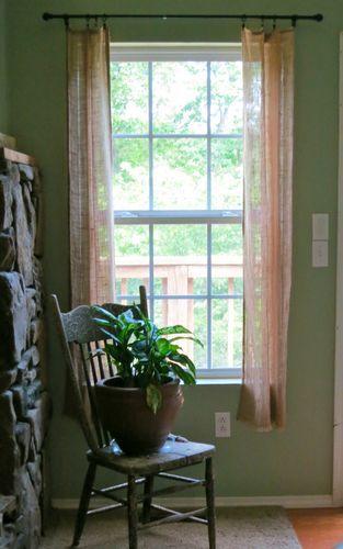 Shabby Chic Country Cottage Chic Farmhouse Rustic Burlap Window Panels W Fringe | eBay