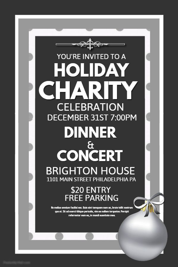 holiday charity dinner poster flyer social media template
