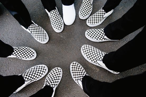 Checkered vans slip ons for groomsmen and white vans for groom #weddings #groom Photo by Kate Connolly Photography