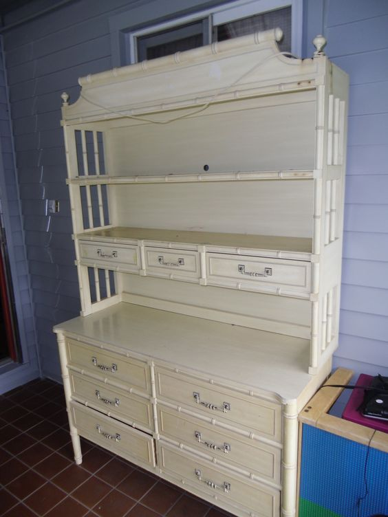 Henry Link Bali Hai Dresser And Hutch | My Antique Furniture Collection -  not for sale but this is the hutch I have seen.: - Henry Link Bali Hai Dresser And Hutch My Antique Furniture