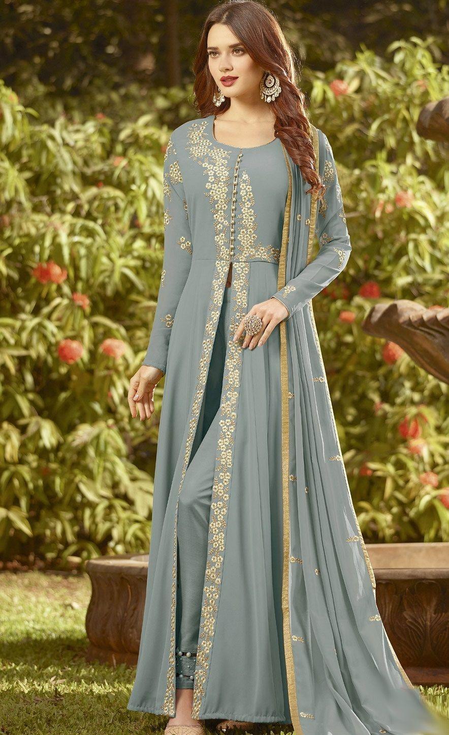 Blue Soft Georgette Long Embroidered Trouser Style Suit 20019 Designer Anarkali Anarkali Suits Eid Dresses