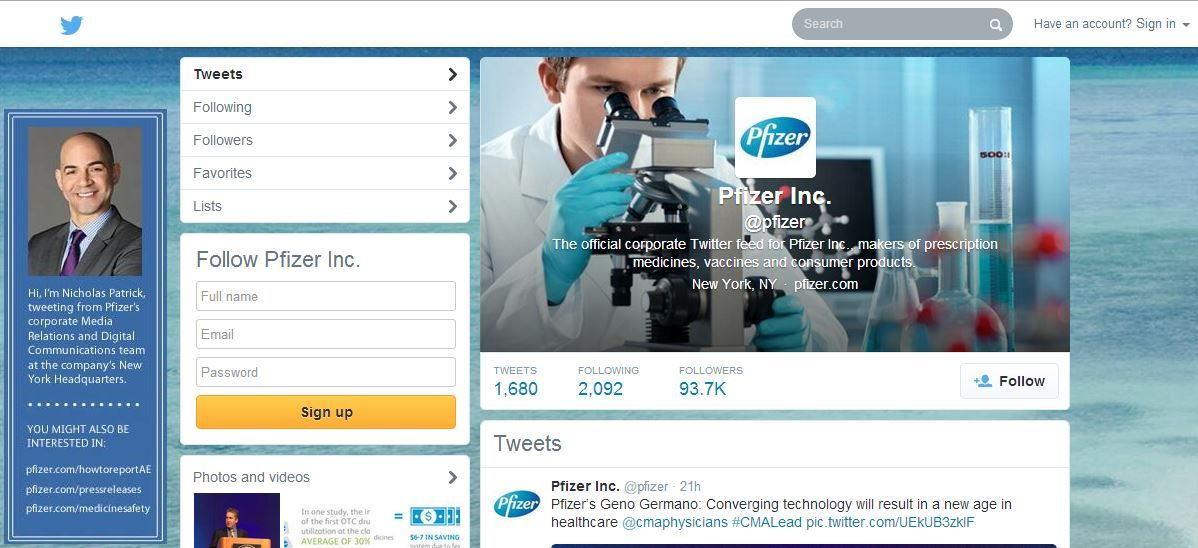 26 Pfizer in Social Media Twitter, company's name is