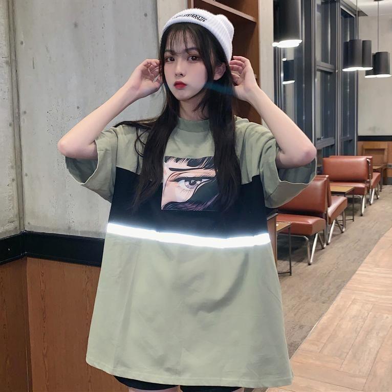 Pink Green Anime Eye Print Oversized T Shirt Tee Shirt Fashion