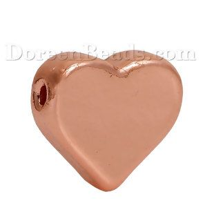 "Zinc Based Alloy Spacer Beads Heart Rose Gold 11mm( 3/8"") x 10mm( 3/8""), Hole: Approx 1.3mm, 5 PCs"