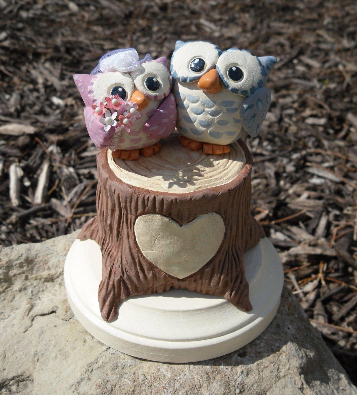 Woodland Owls Wedding Cake Topper Custom Cake Topper Woodland Wedding Pe