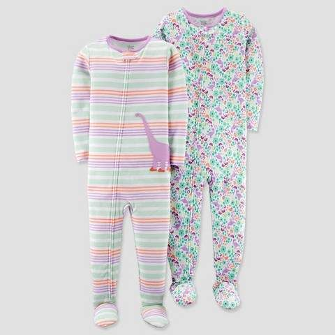 Just One You made by carter Toddler Girls  2pk Cotton Dino Stripe Footed Pajama  Set 3345b1bc0