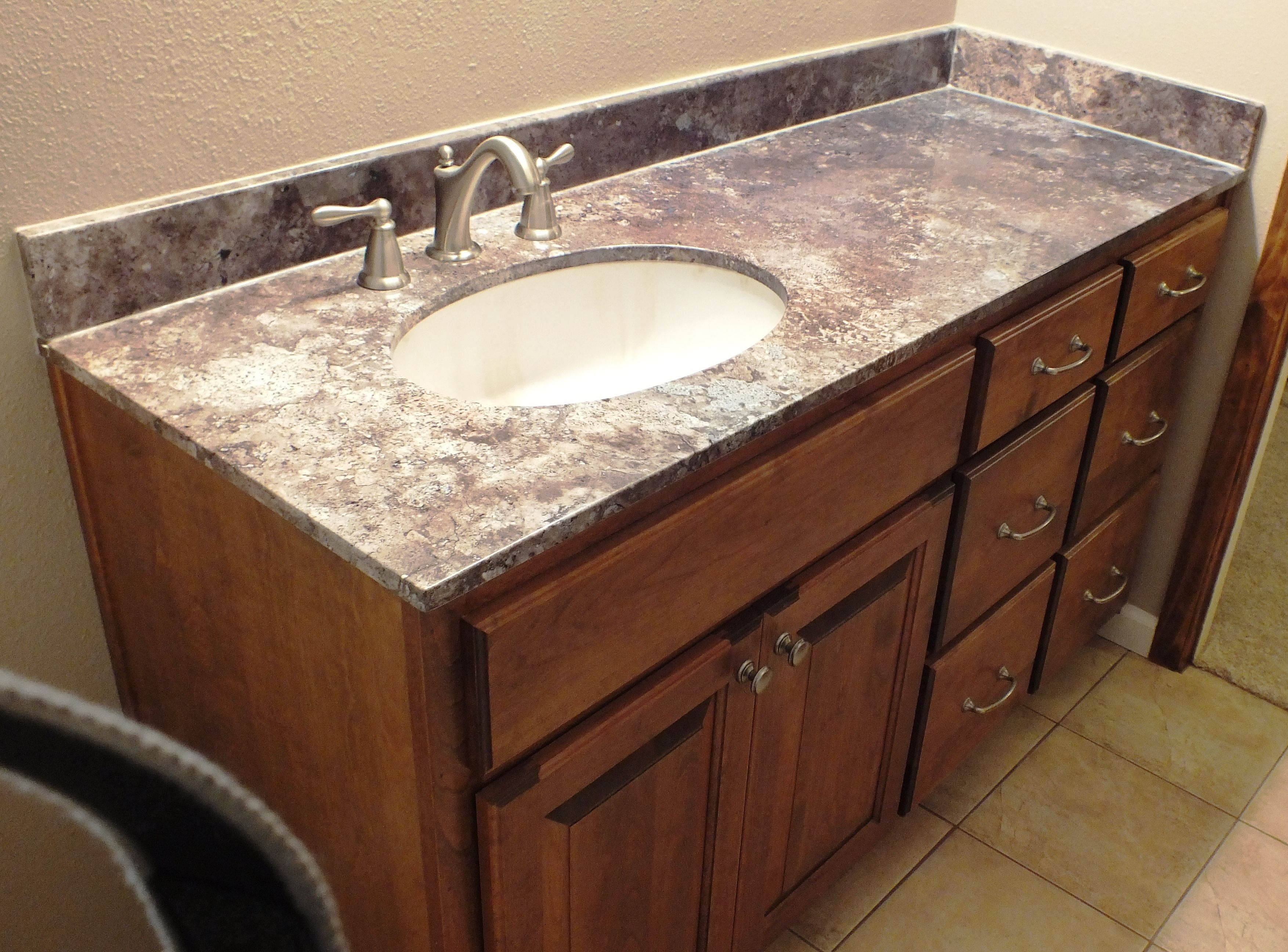 Abalone Travertine Vanity Top With Burnt Almond Under Mount Sink Bowl And  Brushed Nickel Faucets