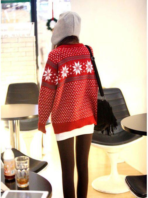 Autumn New Women Snow Pattern Warm Loose Sweater