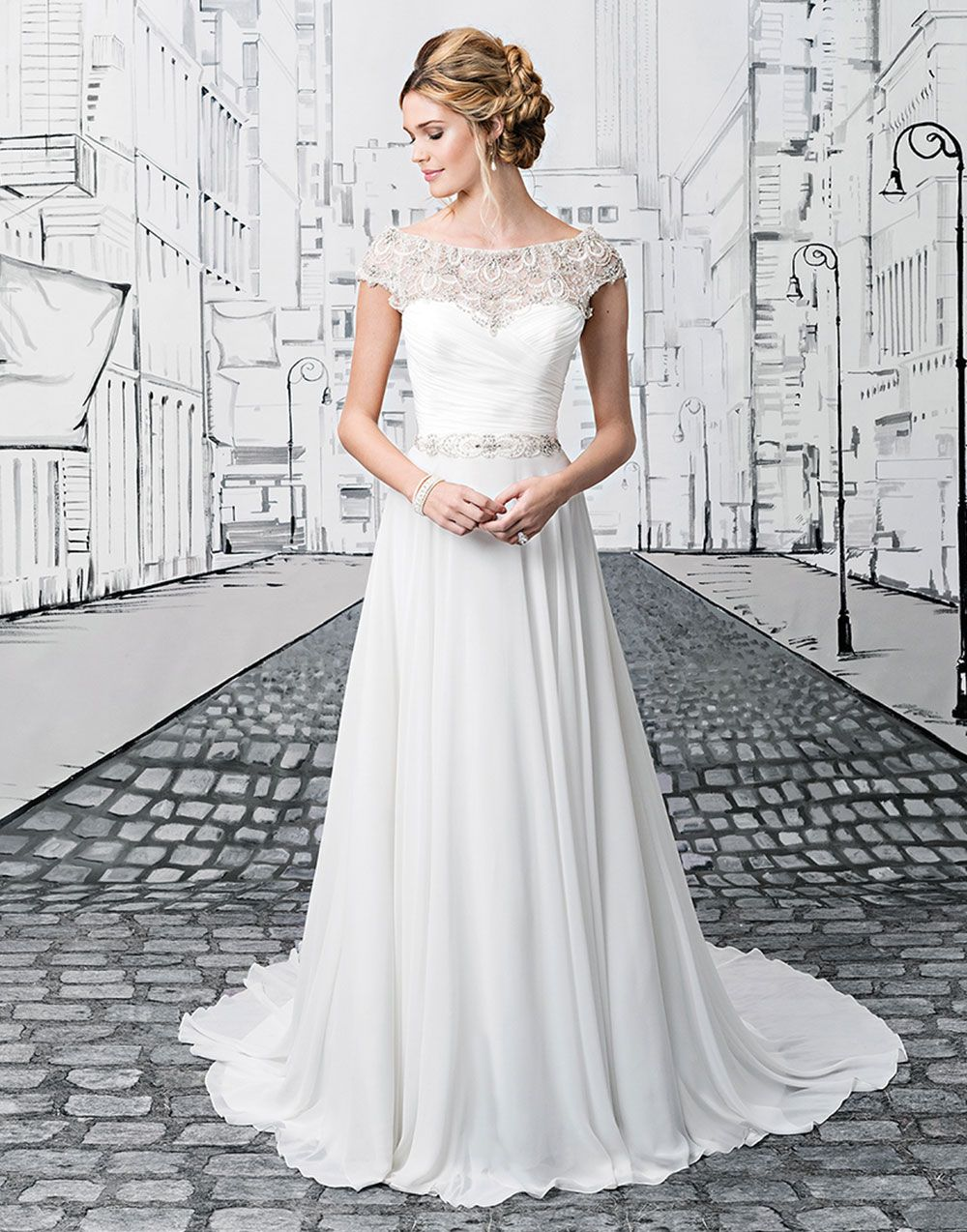 6a4ee5924e9 Justin Alexander wedding dresses style 8799 Beaded embroidery and chiffon  ball gown with a portrait neckline
