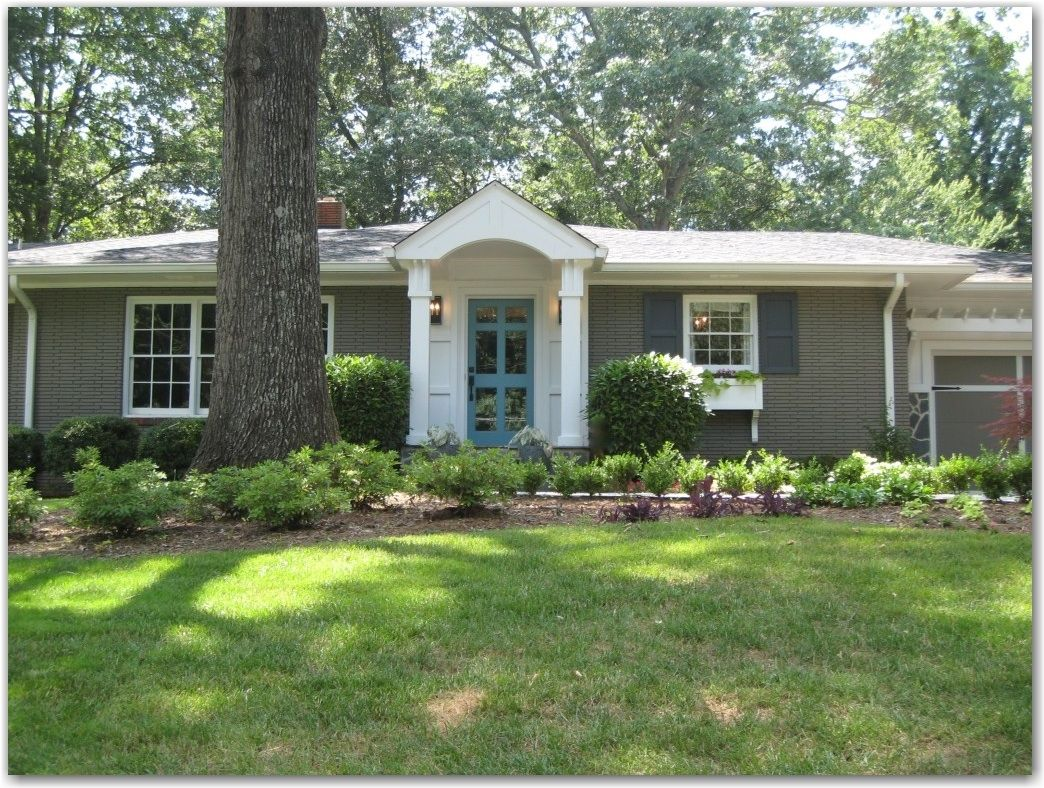 Grey Painted Brick Ranch Turquoise Blue Door For The